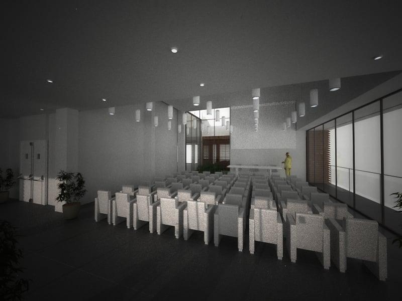 Sala Conferenze - Render di Progetto }