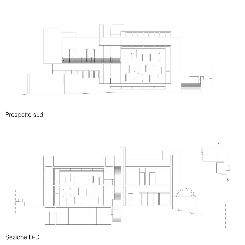 Corpo A - Prospetto sud / Sezione D-D Giuseppe Todaro Architect}