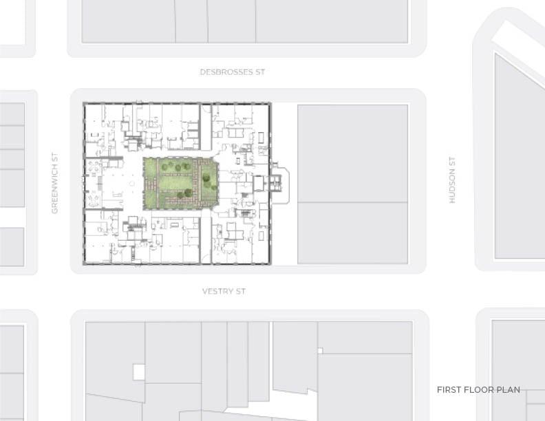 First floor plan with interior courtyard CetraRuddy Architecture}