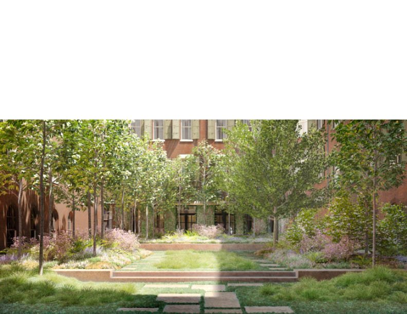Fostering a connection to nature in an urban environment, the interior courtyard features native plantings such as Tulip trees and Red Mable, all representative of the Hudson River Valley in the heart of T CetraRuddy Architecture}