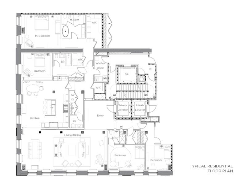 Residential floor plan CetraRuddy Architecture}