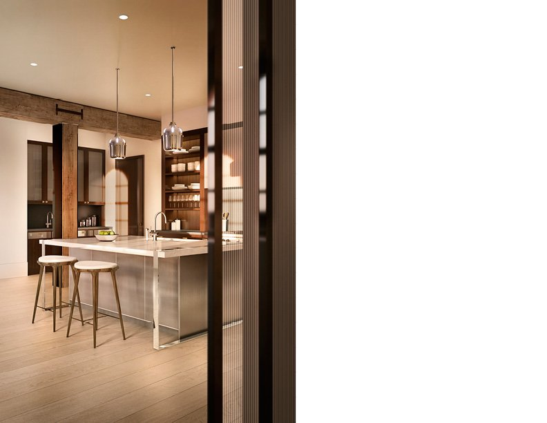 Open concept kitchen adjacent to dining room CetraRuddy Architecture