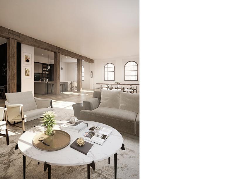 Open concept residential floor plan CetraRuddy Architecture
