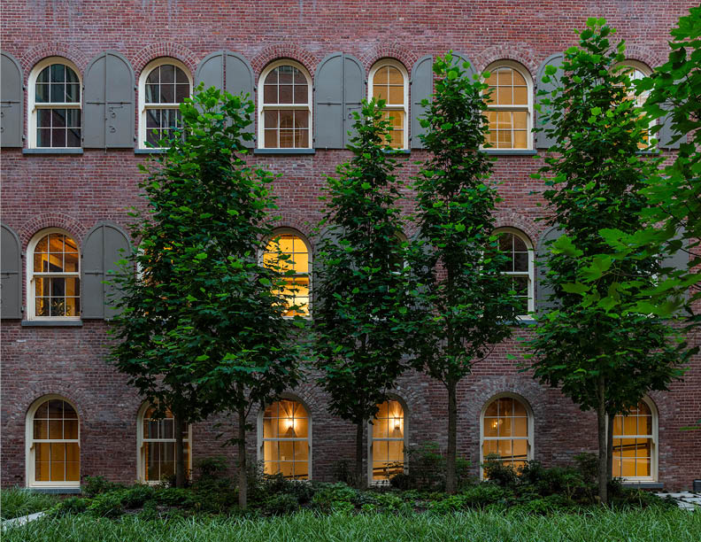 Fostering a connection to nature in an urban environment, the interior courtyard features native plantings such as Tulip trees and Red Mable, all representative of the Hudson River Valley in the heart of T David Sundberg