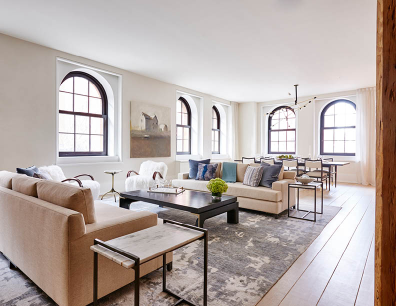 Open concept living room fusing classic proportions and silhouettes with contemporary textures, palettes, and details Adrian Gaut