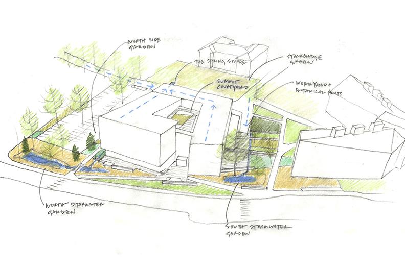 Building Landscape Concept Sketch Leers Weinzapfel Associates }