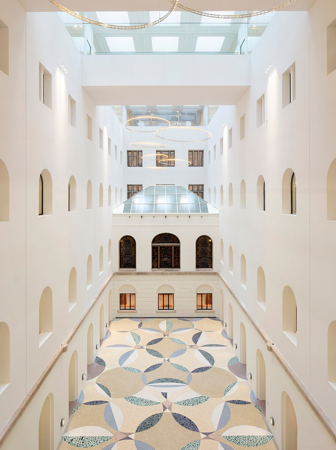 Central atrium with mosaic by Rob Birza Karin Borghouts