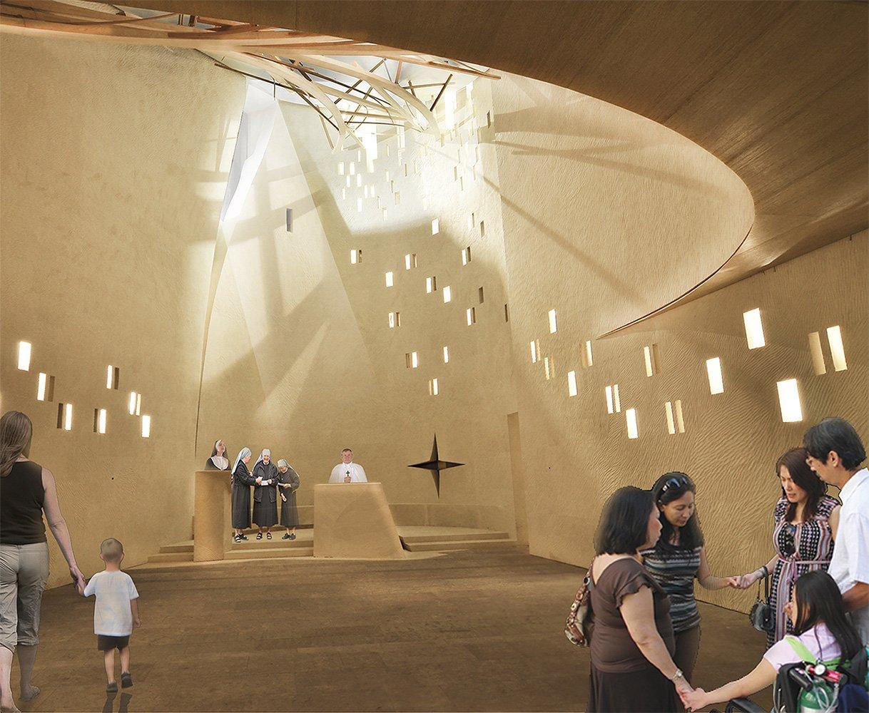 Rendering Chiesa e suo sistema di illuminazione }
