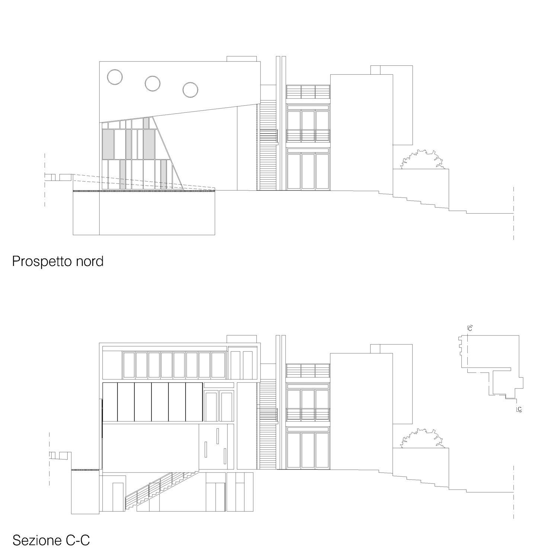 Corpo A - Prospetto nord / Sezione C-C Giuseppe Todaro Architect}