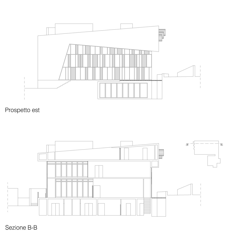 Corpo A - Prospetto est / Sezione B-B Giuseppe Todaro Architect}