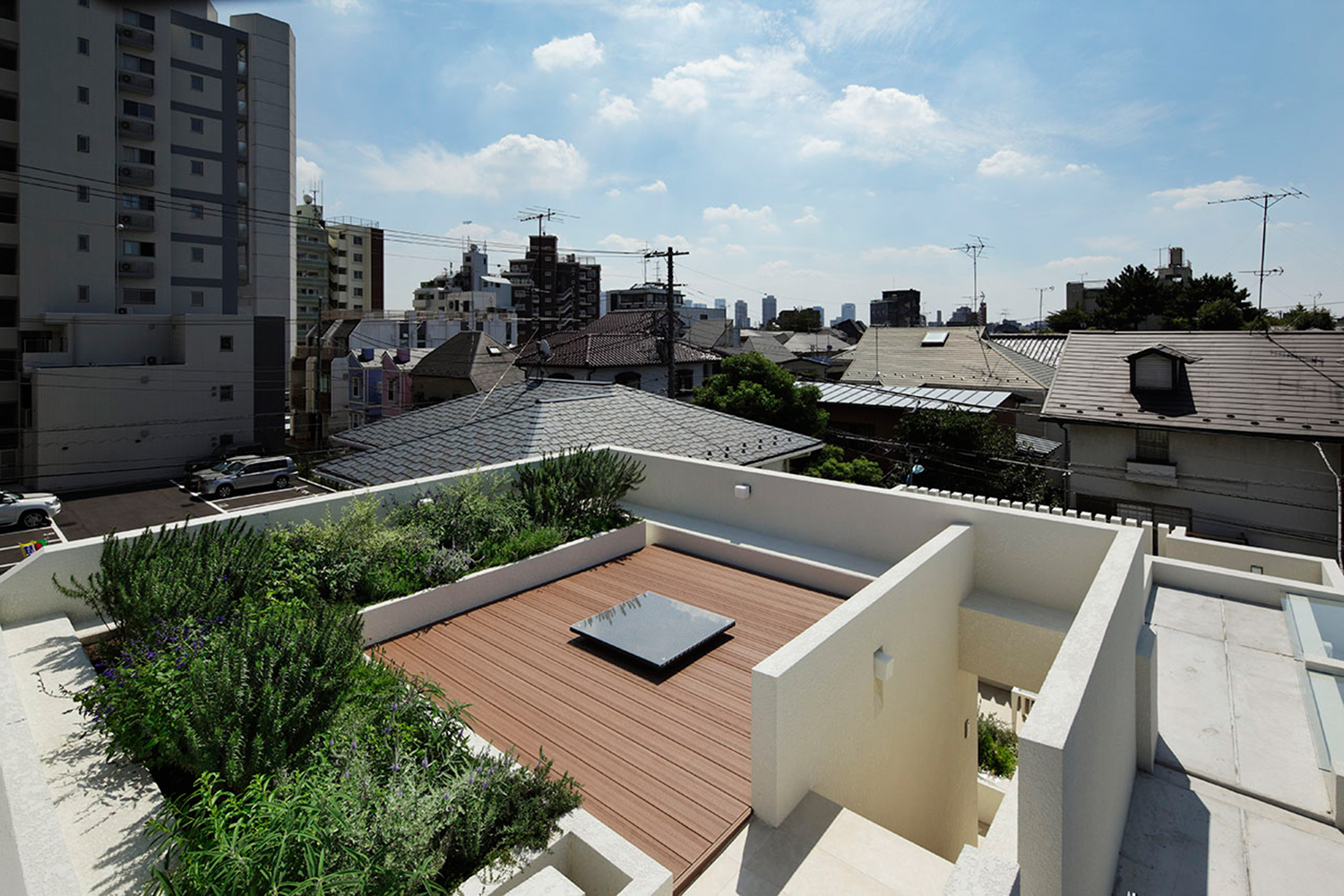 Aerial garden. An open place that will not be obstructed by surrounding buildings. }