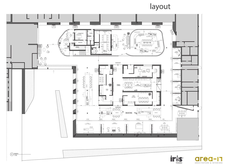 Pianta layout e arredi Area-17 Architecture & Interiors}