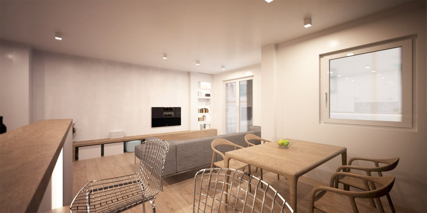 Concept Rendering - Dinning Room and Living Room }