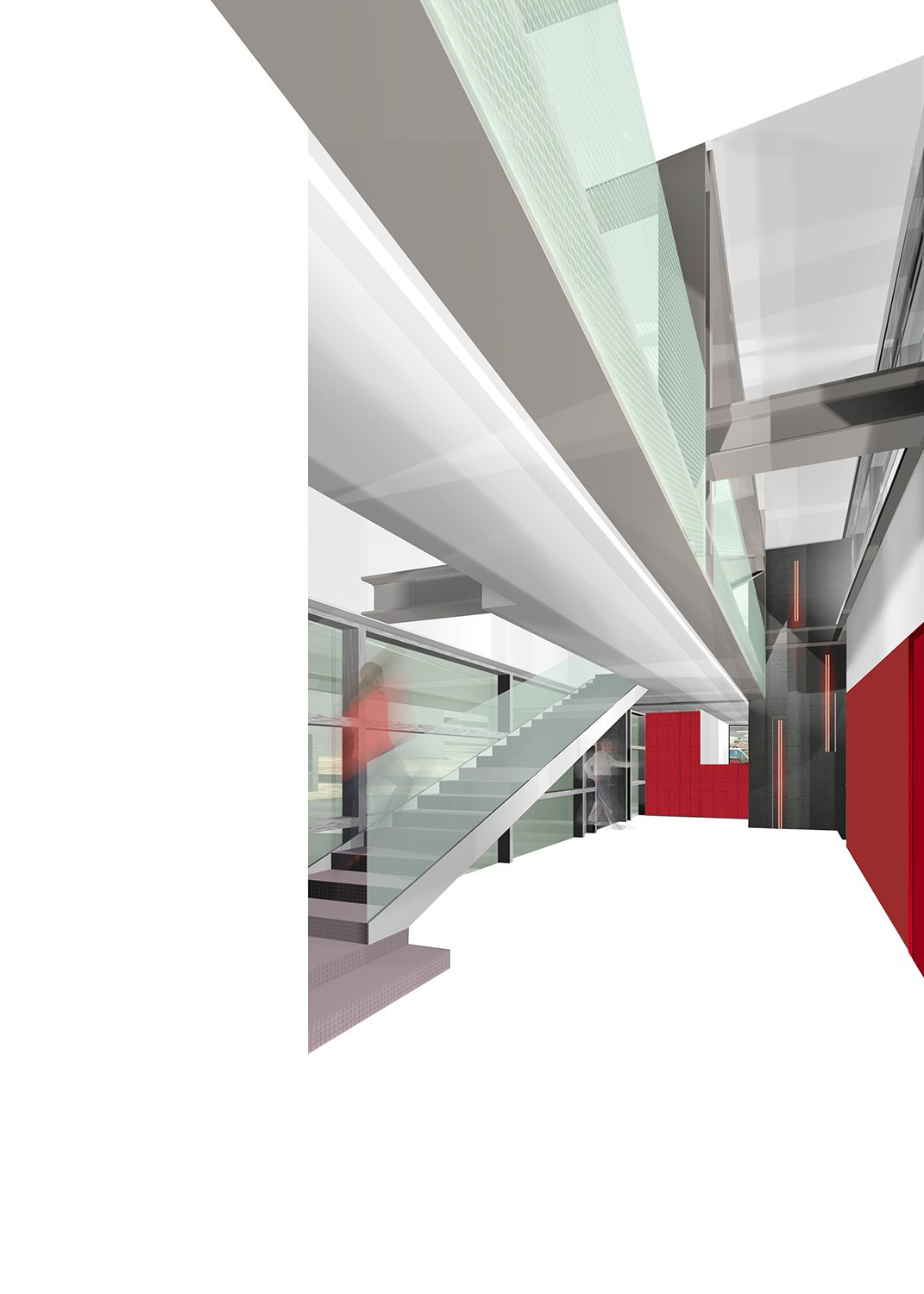 The red, white, and metallic silver of the EMS identity are inspired by the ambulances on the apparatus floor. Dean/Wolf Architects}