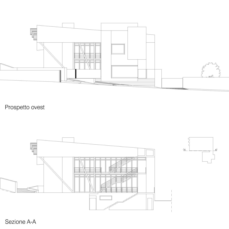 Corpo A - Pprospetto ovest / Sezione A-A Giuseppe Todaro Architect}