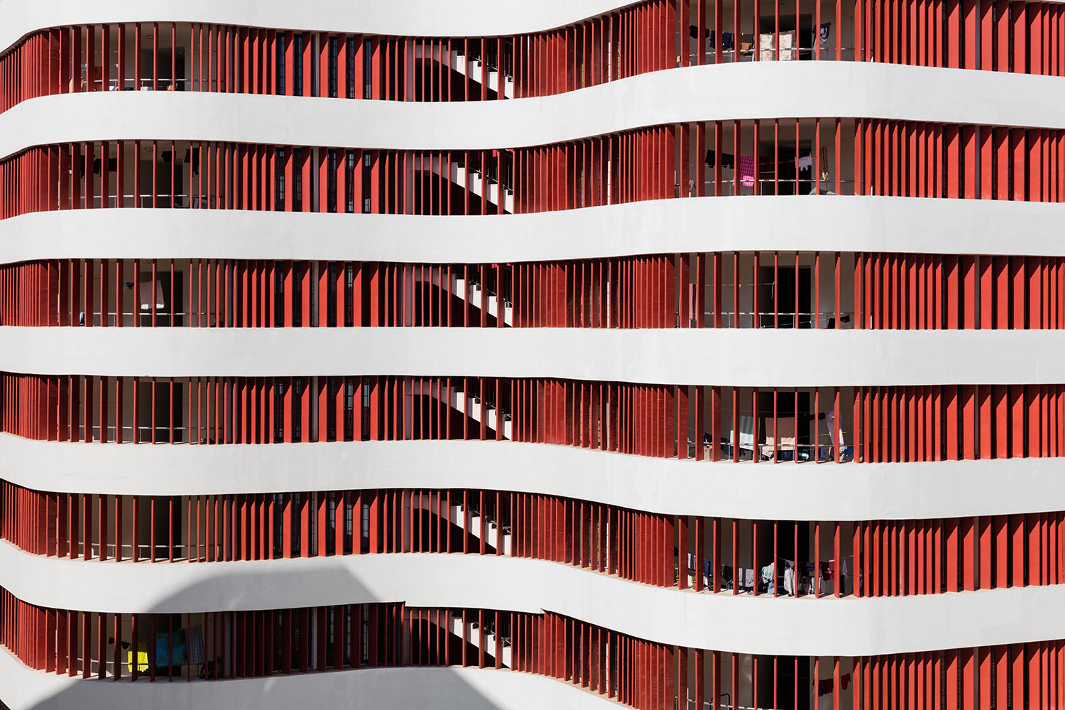 Facade detail: varying density of louvres referring to interior function. Marcus Bredt