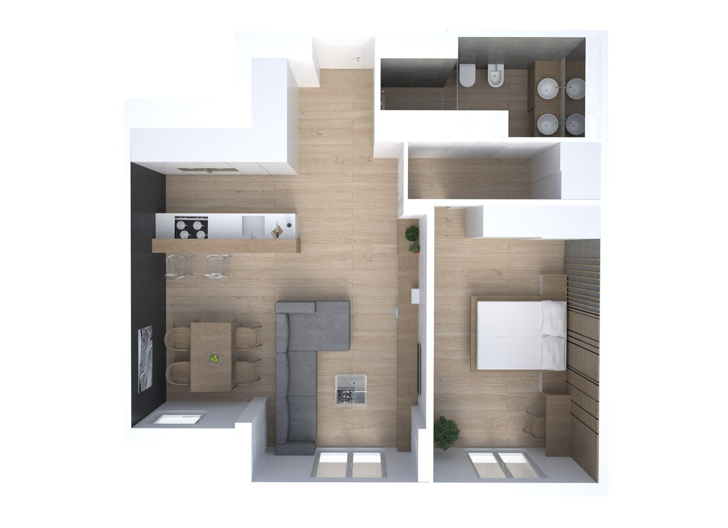 Rendered Floor Plan }