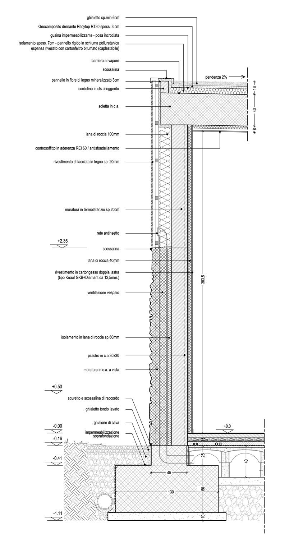 Sezione di dettaglio della facciata dei laboratori lato strada 01 }