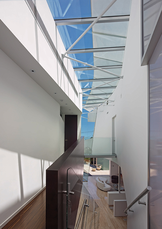 View of curved skylight