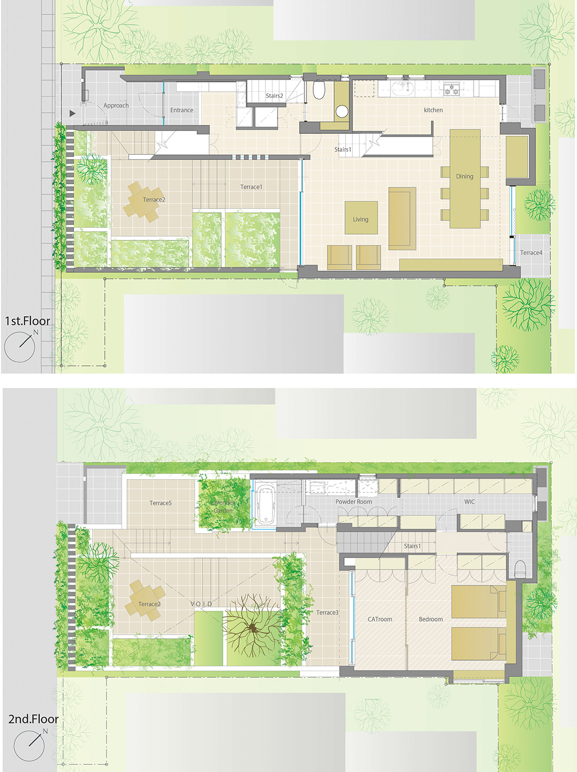 Plan.The interior and the external space are complicatedly intertwined. }
