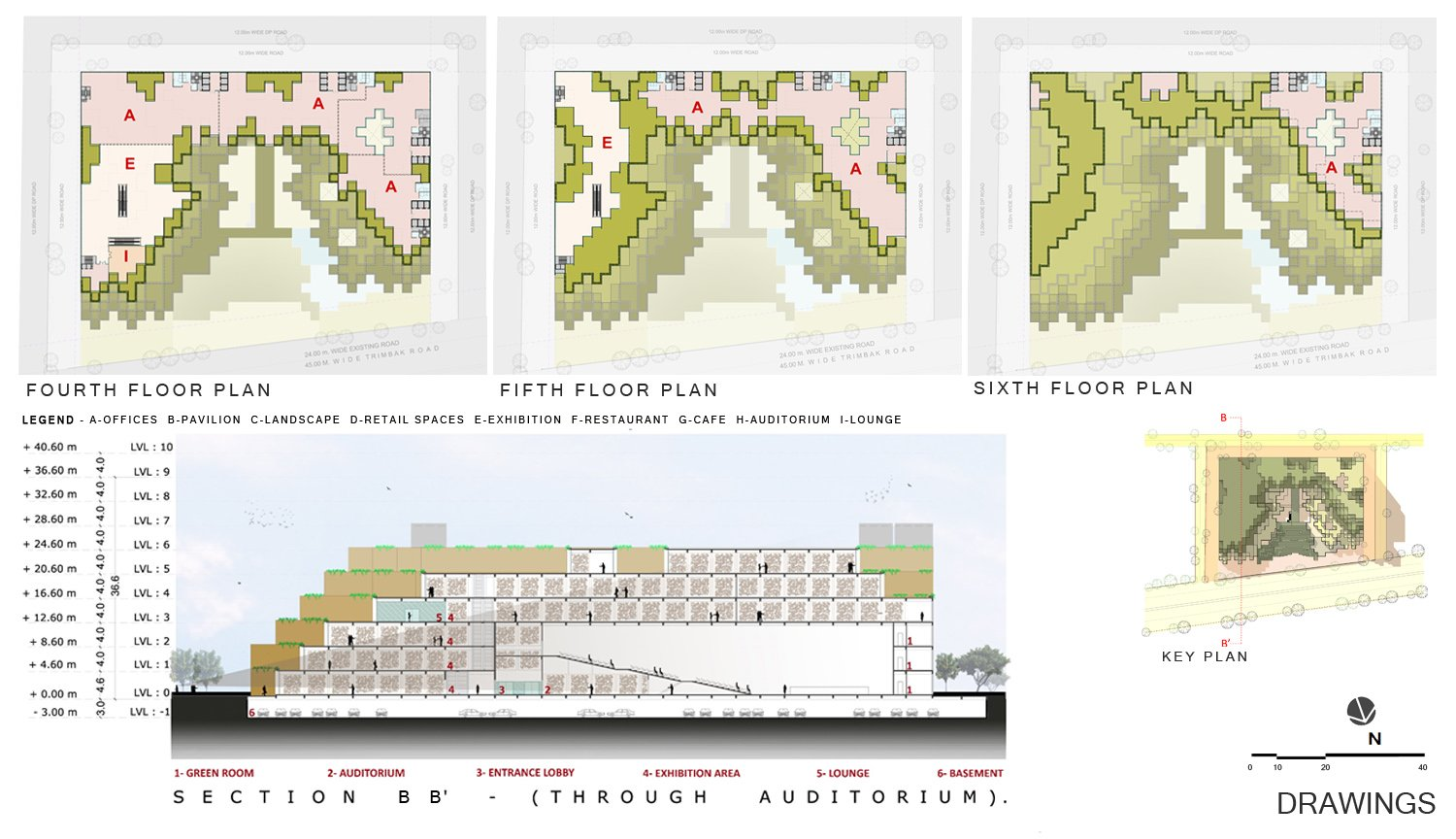 FLOOR PLANS & SECTION sanjay puri architects}