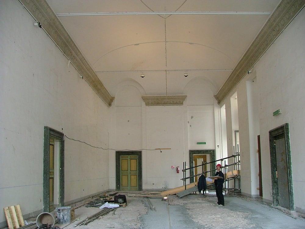 Il salone d'Onore prima dei lavori di costruzione del Plafone