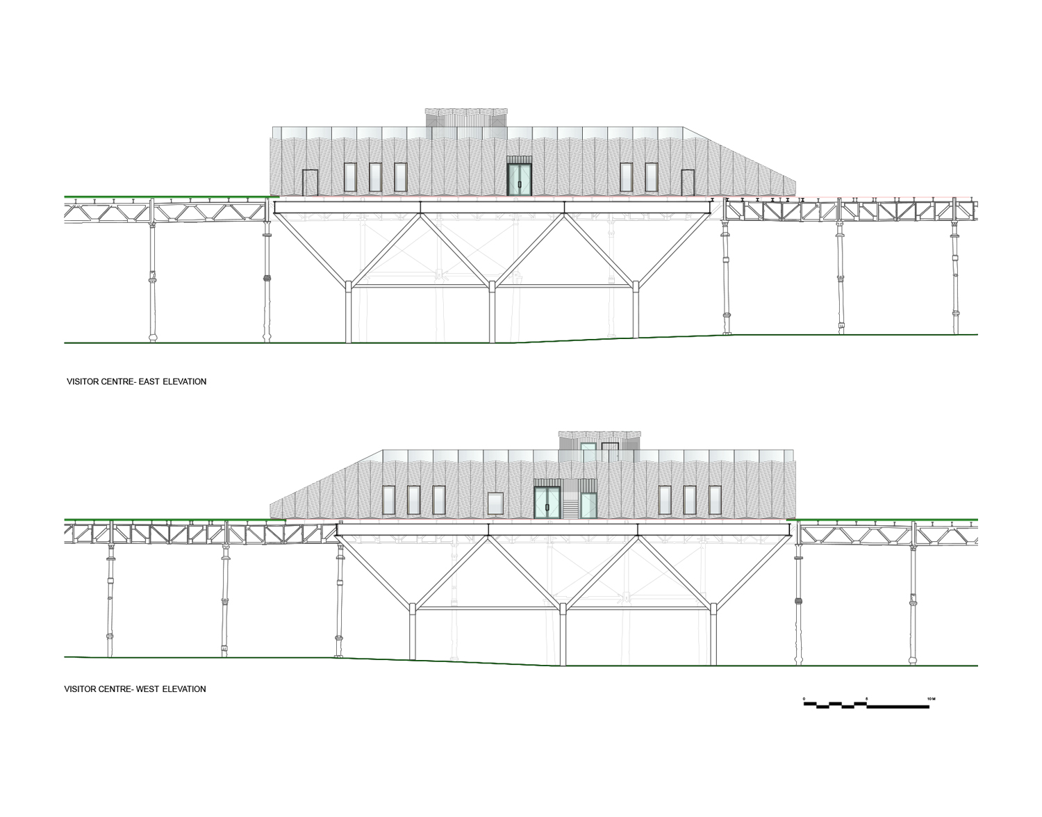 Visitor Centre East West Elevations }