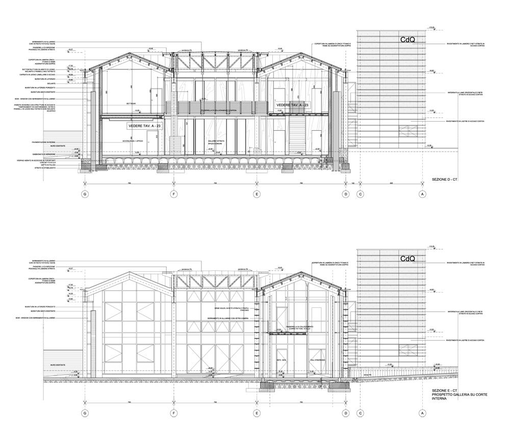 Sezione trasversale sulla hall di ingresso e la galleria fotovoltaica }
