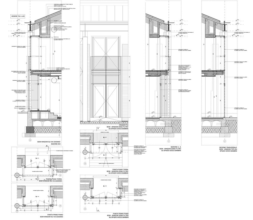 Dettaglio del bow-window delle murature perimetrali delle tettoie }