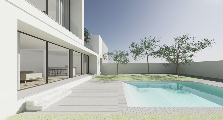 exterior view, the rear facade Raulino Silva Architect
