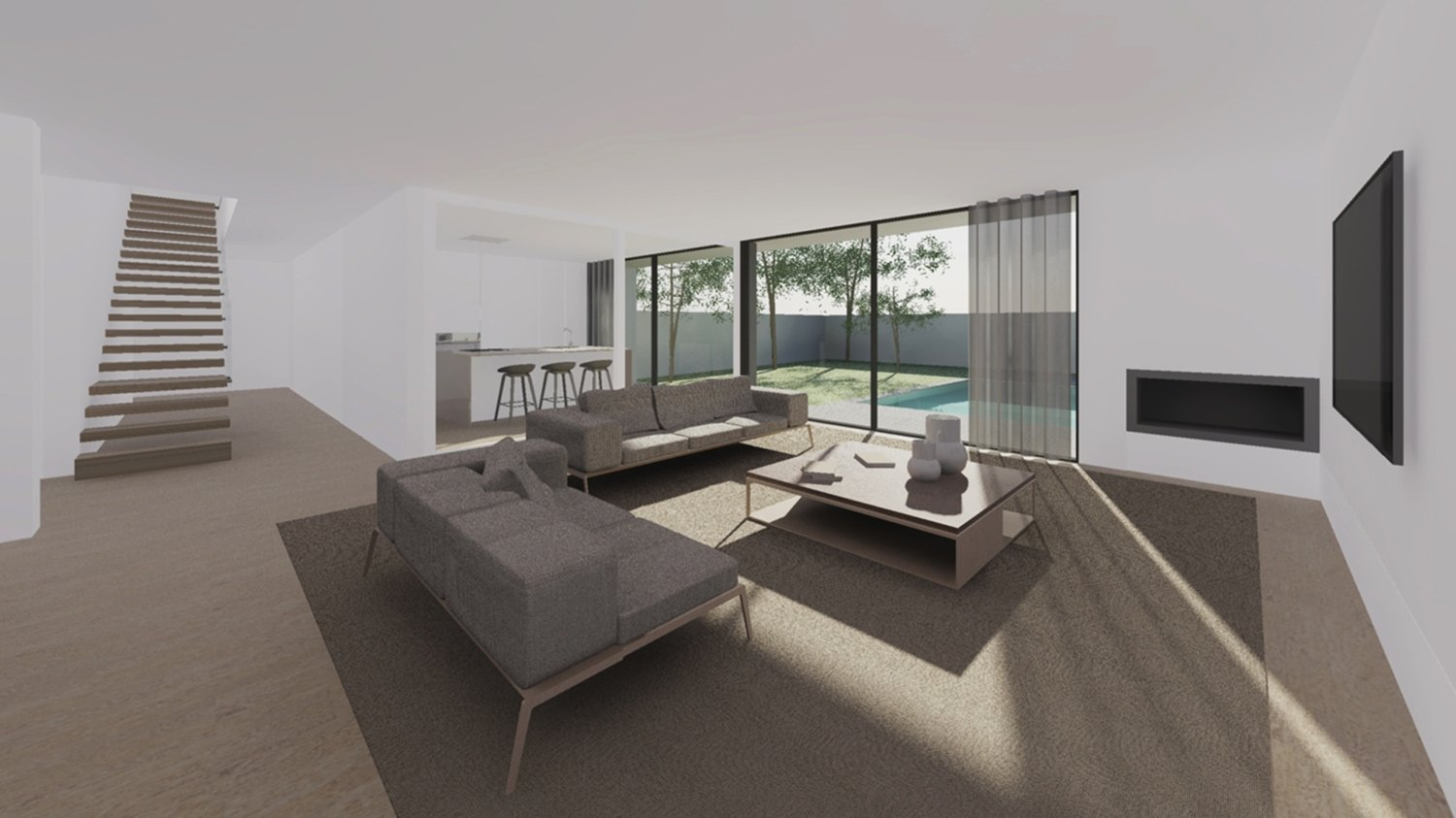 interior view, from the living room Raulino Silva Architect