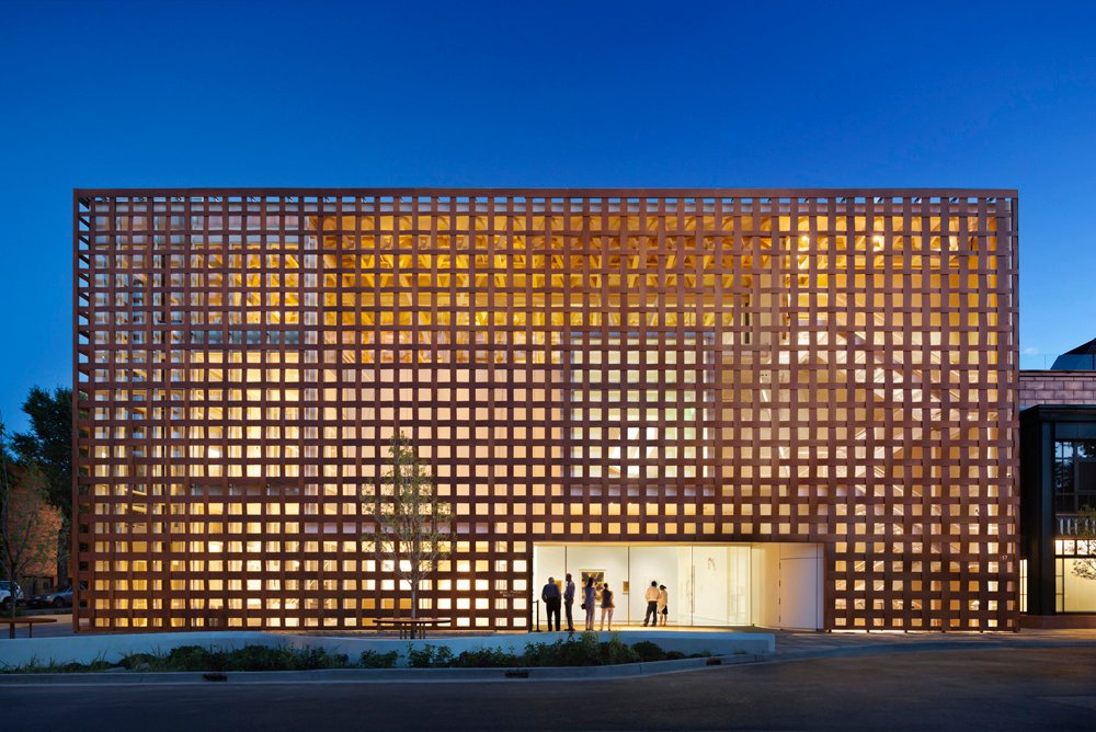 Exterior View of Lattice Screen, made from a wood-covered mixture of paper and resin