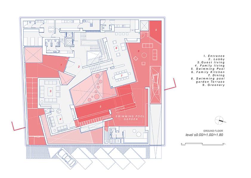 AGi architectes_Three Gardens__Ground floor_1.200_Swimming pool garden }