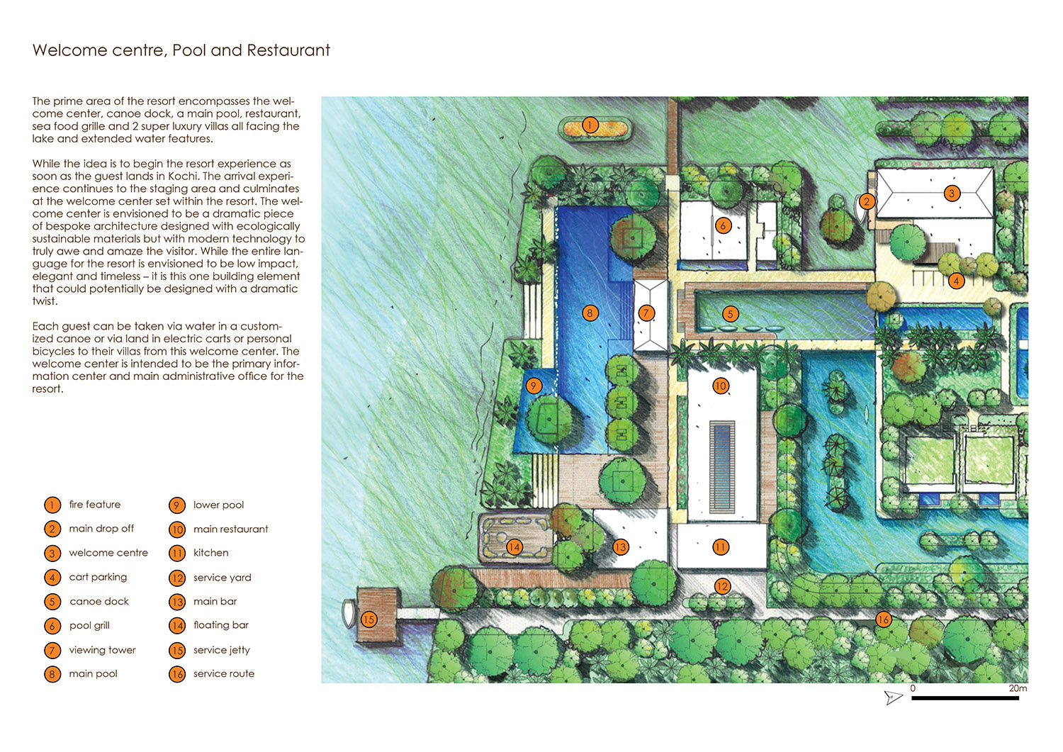Welcome Centre, Pool and Restaurant Plan }
