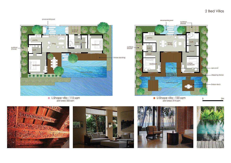 2 Bedroom Villas Plan }
