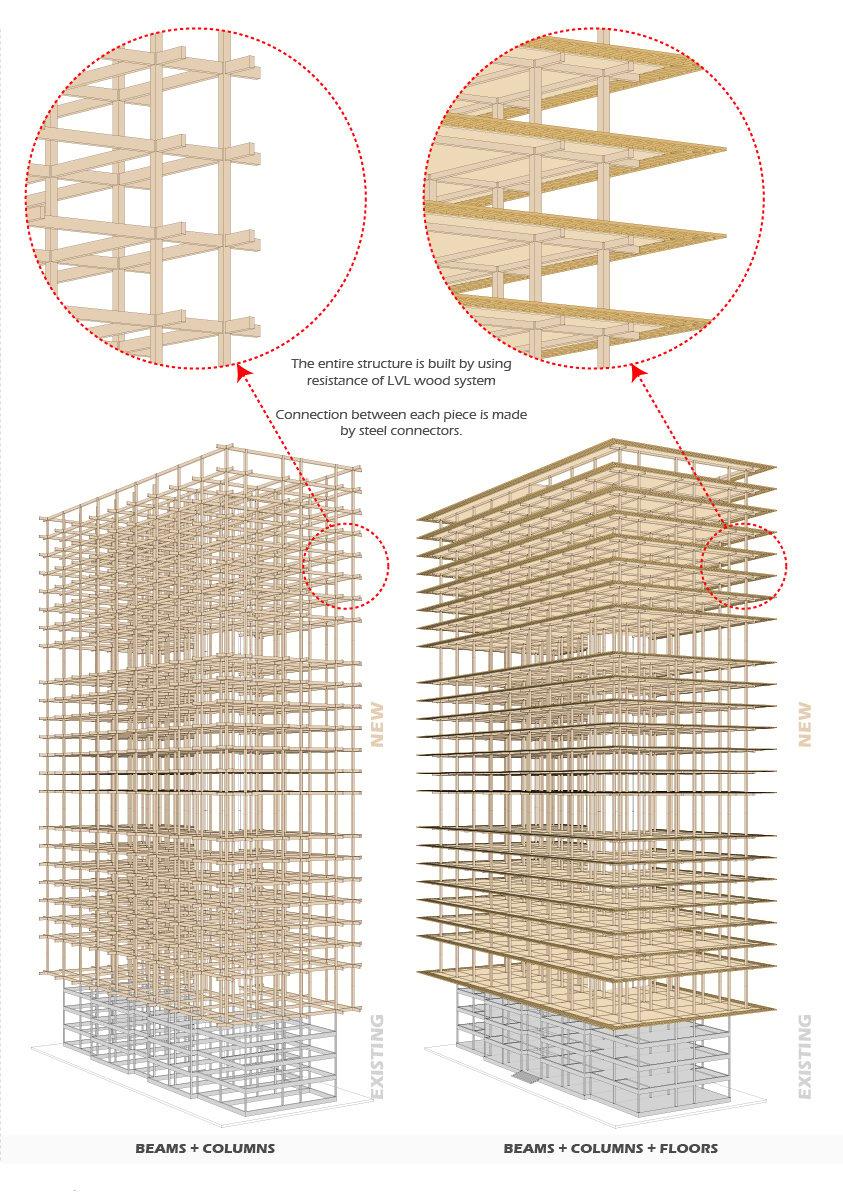Axonometry - Wooden Frame HKA | Hermann Kamte & Associates}