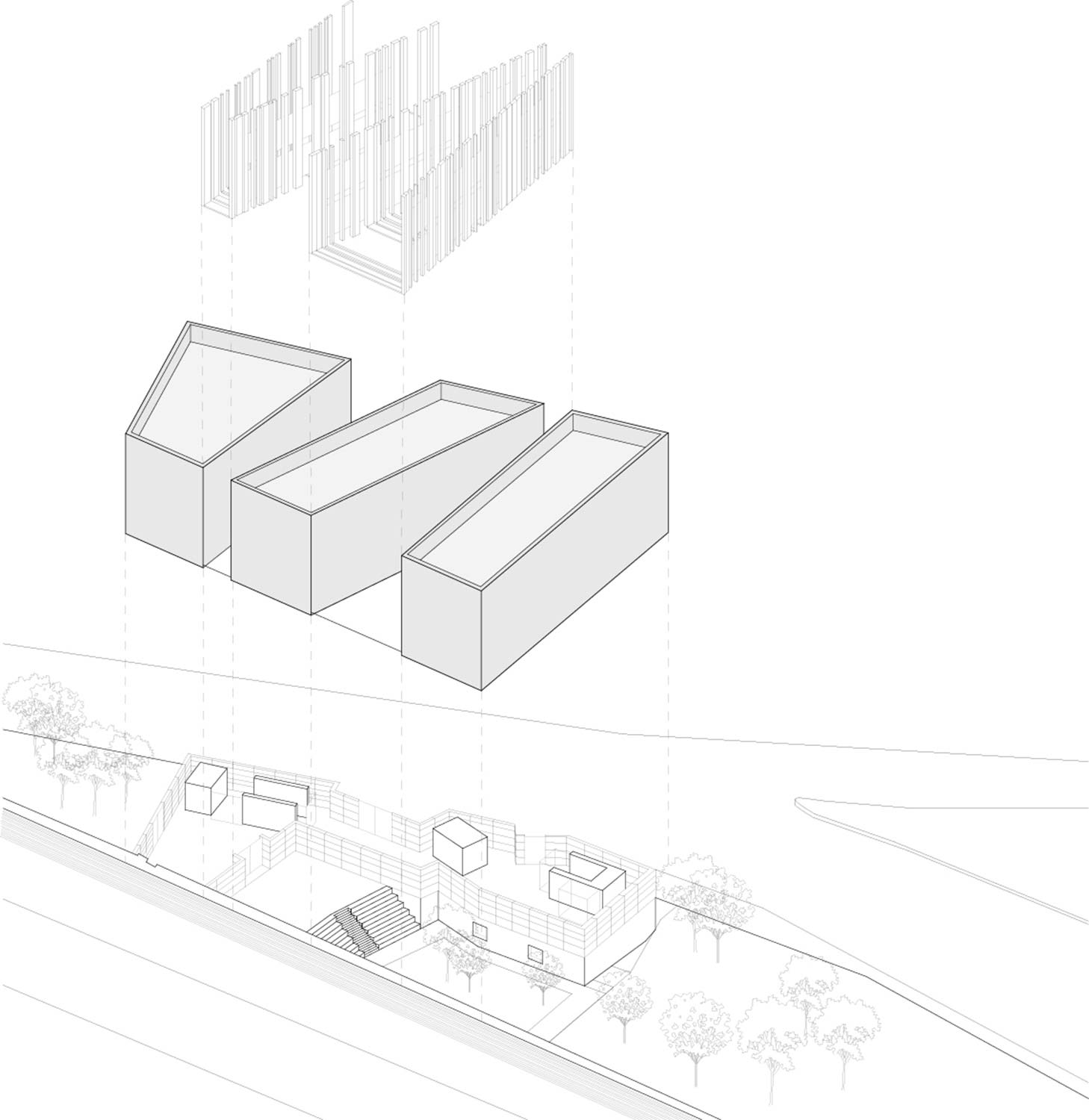 Byblos Town Hall Exploded Axonometric }