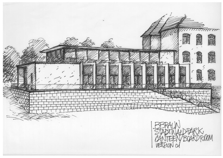 Sketch Canteen External View Il Prisma }
