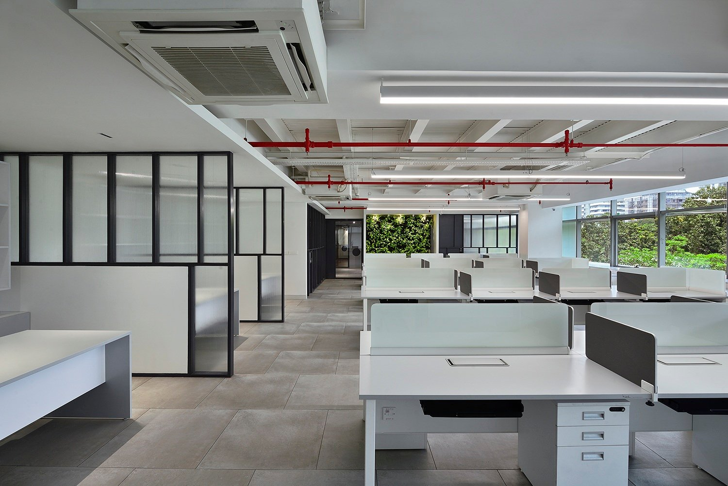 View of the workstations and translucent partitions Ravi Kanade