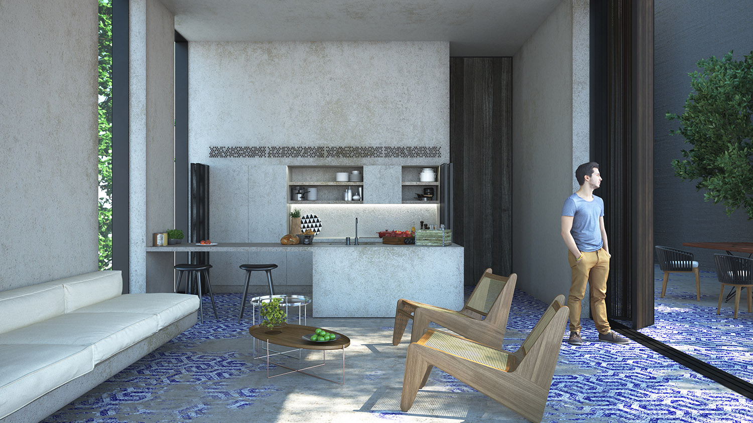 Interior Perspective from Accomodation Units TABANLIOGLU ARCHITECTS
