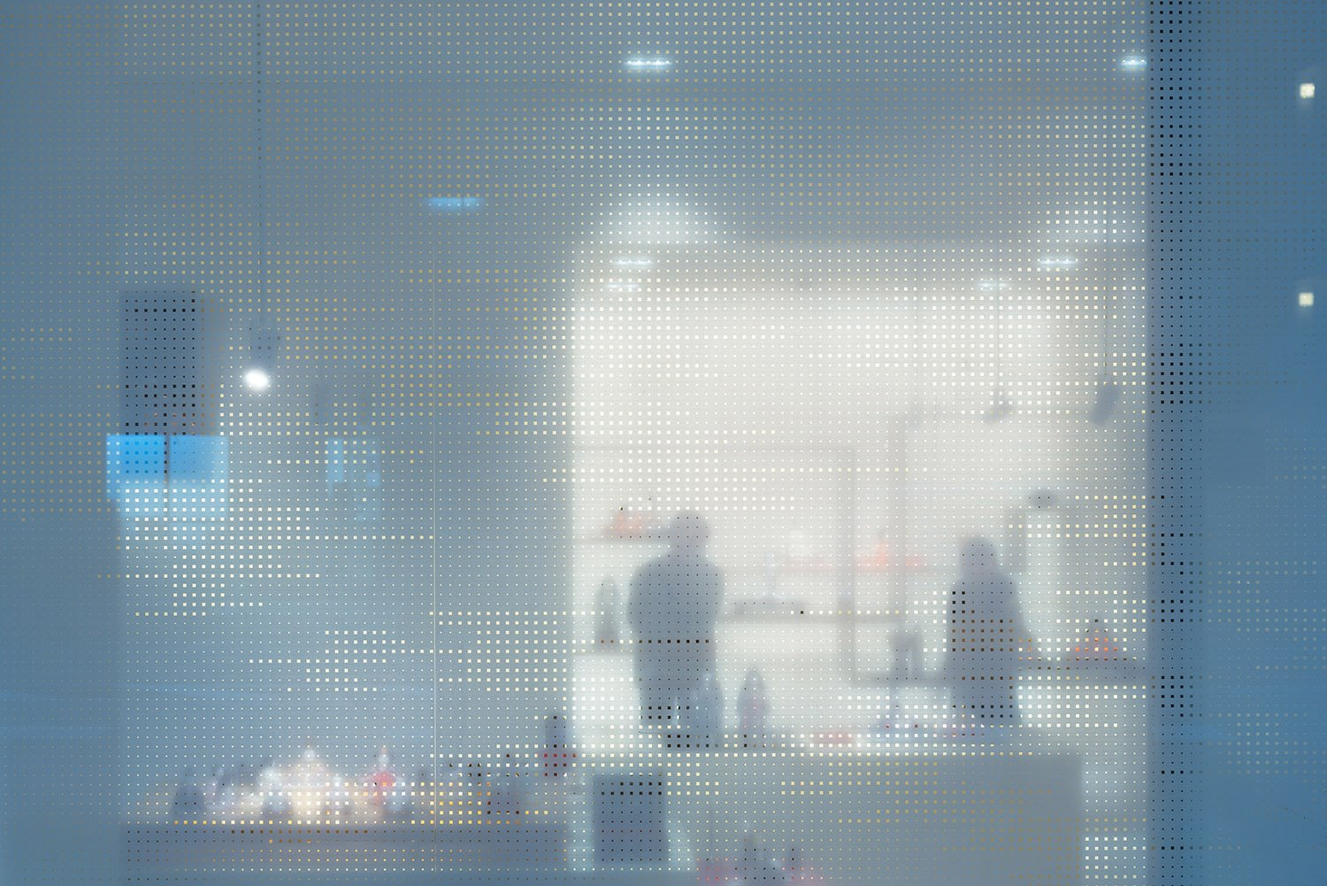 View into the gallery through the shop window covered with a semi-transparent film. Takumi Ota photography