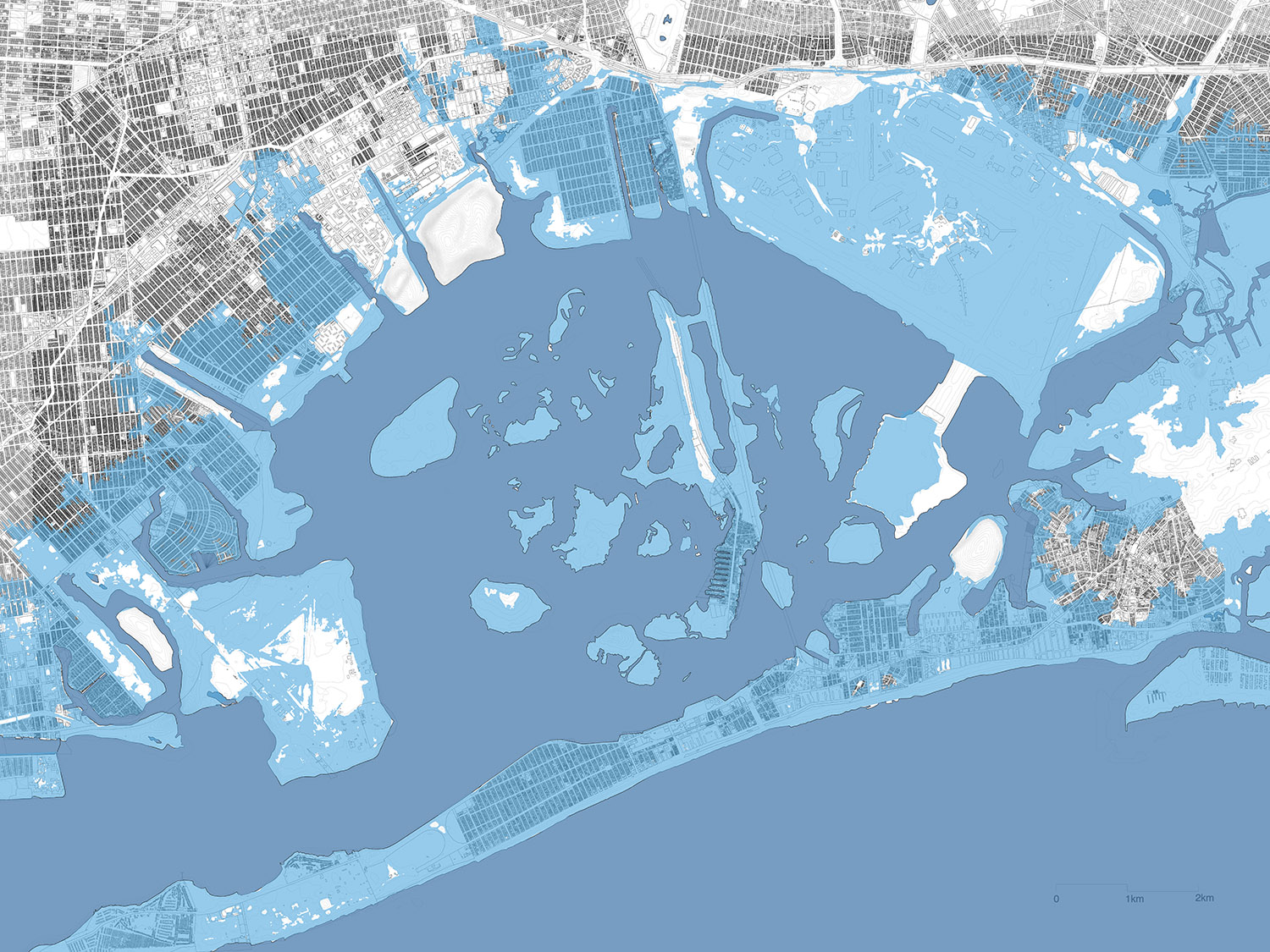 Projected flood zone in 2050, Jamaica Bay DLANDstudio Architecture and Landscape Architecture + Rafi Segal