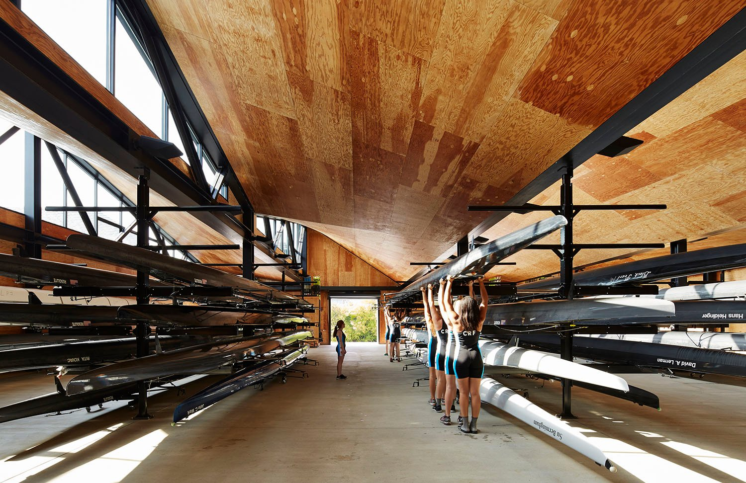 The boat storage buildings house rental kayaks and canoes as well as the rowing teams' eight-person shells.