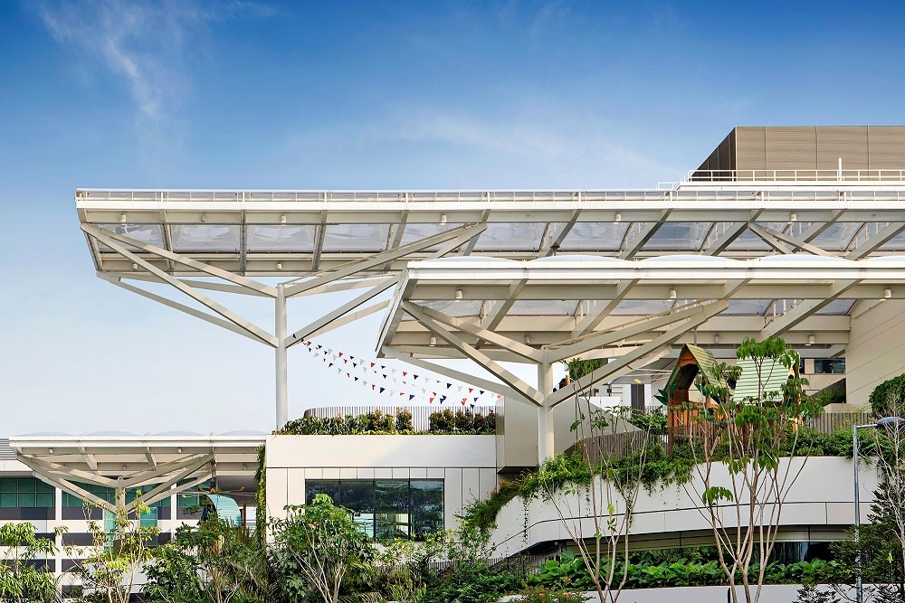 Canopies providing shade over external play areas Bogle Architects-Infinitude