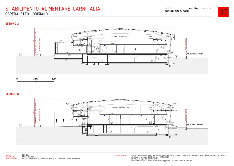 SEZIONI TIPO STABILIMENTO STUDIO CASTIGLIONI & NARDI ARCHITETTI ASSOCIATI}