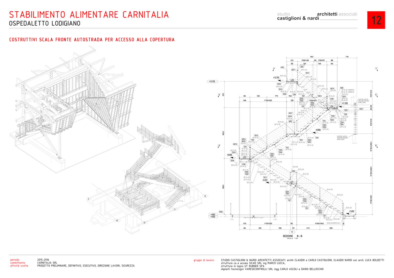 DISEGNI COSTRUTTIVI SCALA DI ACCESSO ALLA COPERTURA (FRONTE AUTOSTRADA A1) STUDIO CASTIGLIONI & NARDI ARCHITETTI ASSOCIATI}