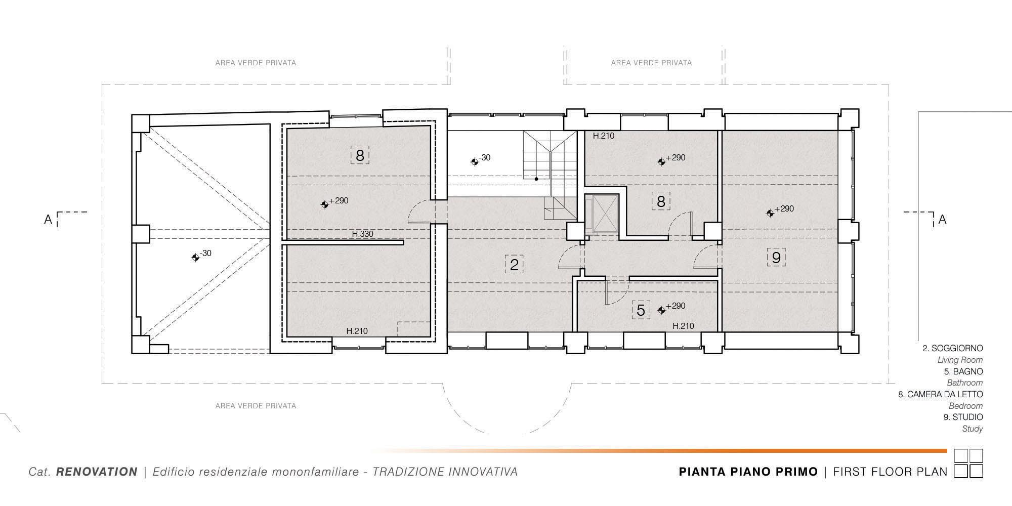 Edificio Residenziale Monofamiliare - TRADIZIONE INNOVATIVA - 003 - First Floor Plan }