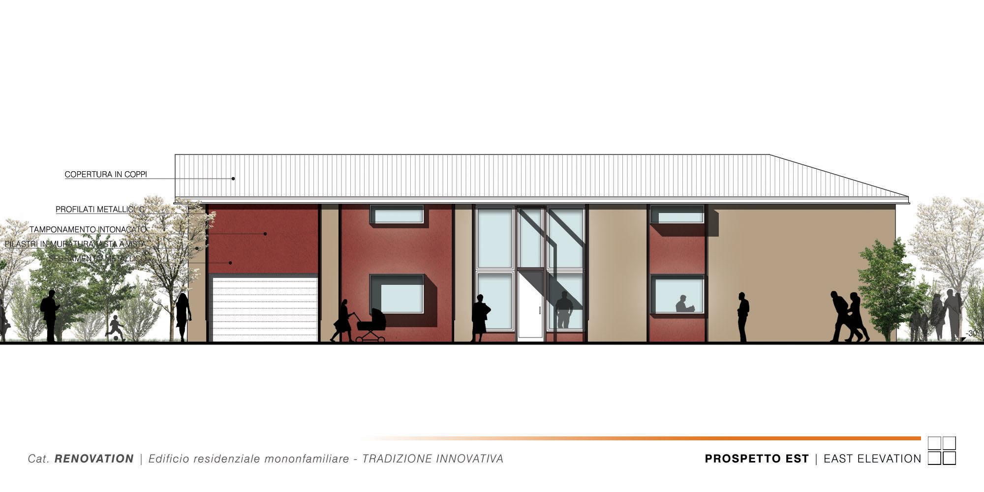 Edificio Residenziale Monofamiliare - TRADIZIONE INNOVATIVA - 005 - East Elevation }