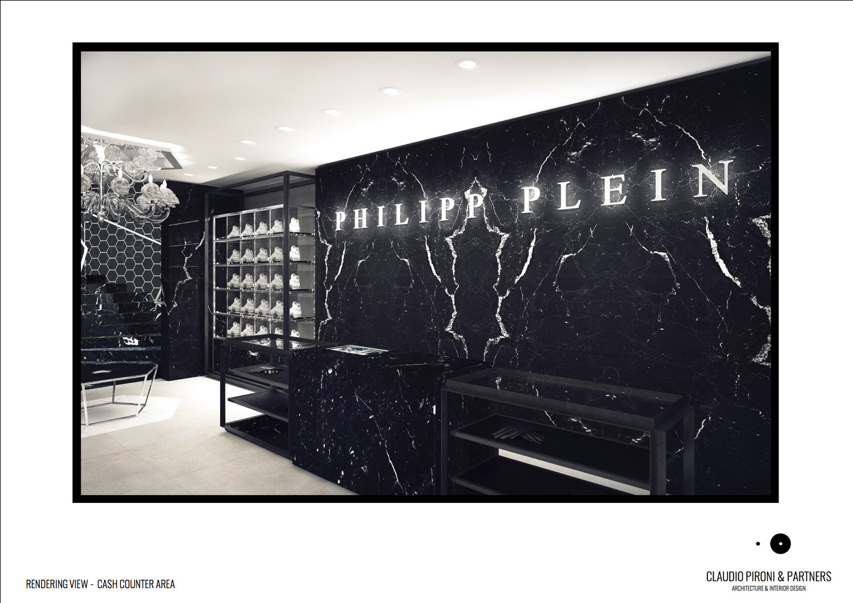 Philipp Plein London: Rendering view Cash counter Area }