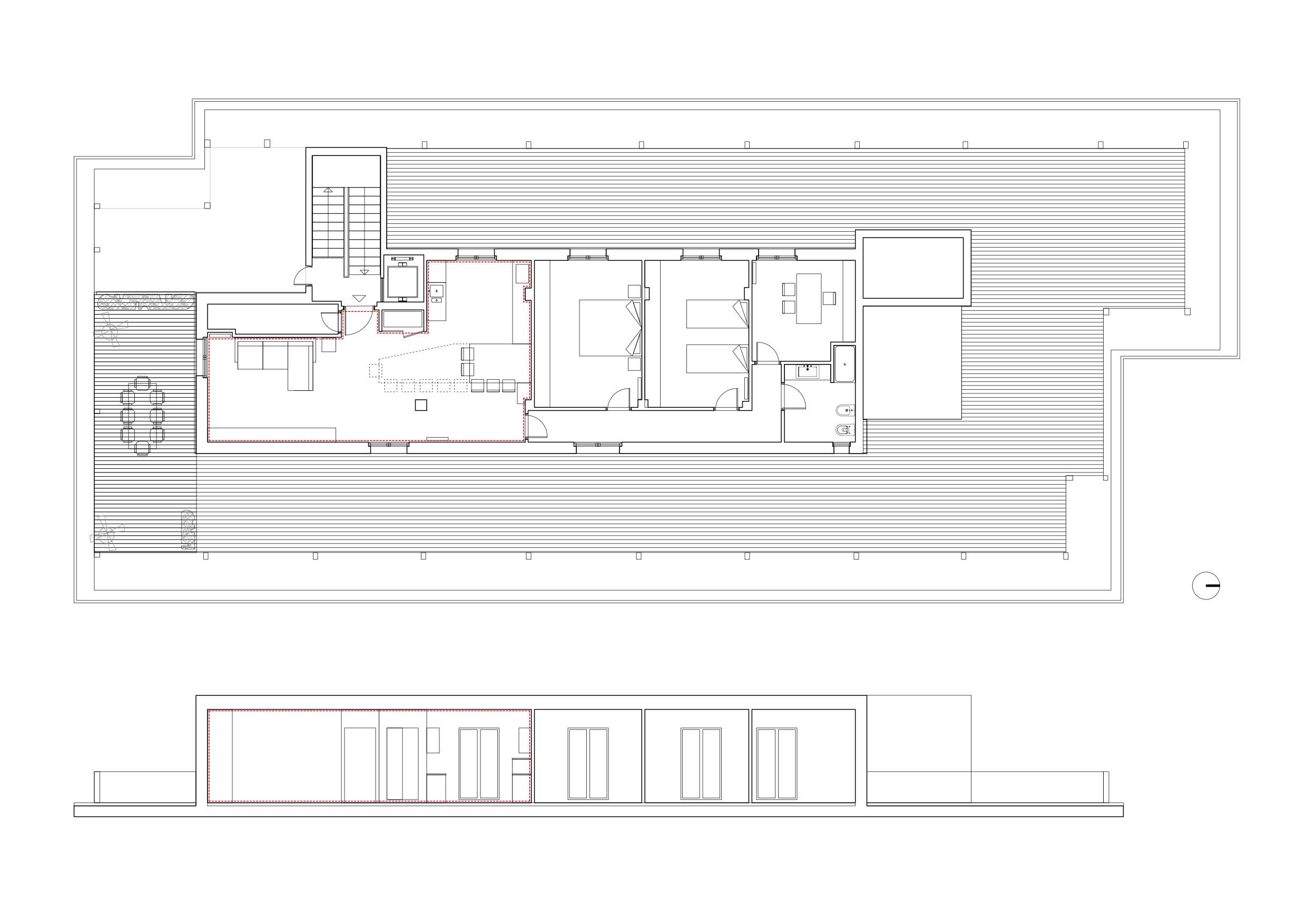 disegni tecnici_pianta e sezione 1:100 Gabriele Filippi Architetto